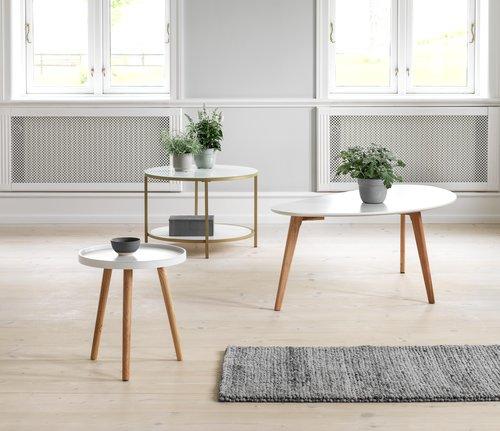 Tavolino GADEVANG Ø65 bianco/oro