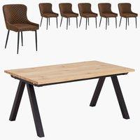 New York Tisch + 6 New York Stühle braun