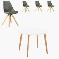 Blokhus Tisch rund + 4 Stühle grau