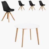 Blokhus Tisch rund + 4 Stühle schwarz